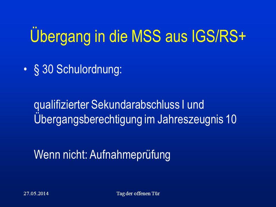 Übergang in die MSS aus IGS/RS+