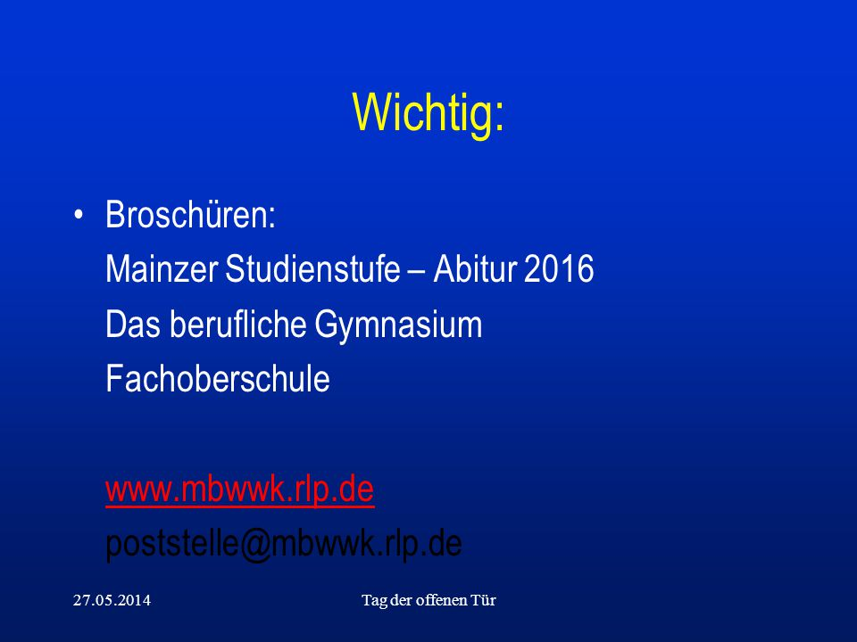 Wichtig: Broschüren: Mainzer Studienstufe – Abitur 2016