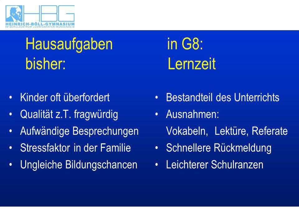 Hausaufgaben in G8: bisher: Lernzeit