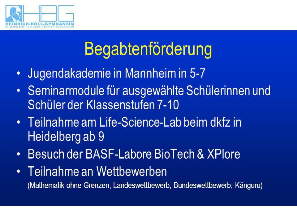 Begabtenförderung Jugendakademie in Mannheim in 5-7