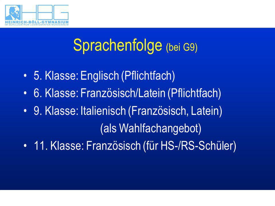 Sprachenfolge (bei G9) 5. Klasse: Englisch (Pflichtfach)