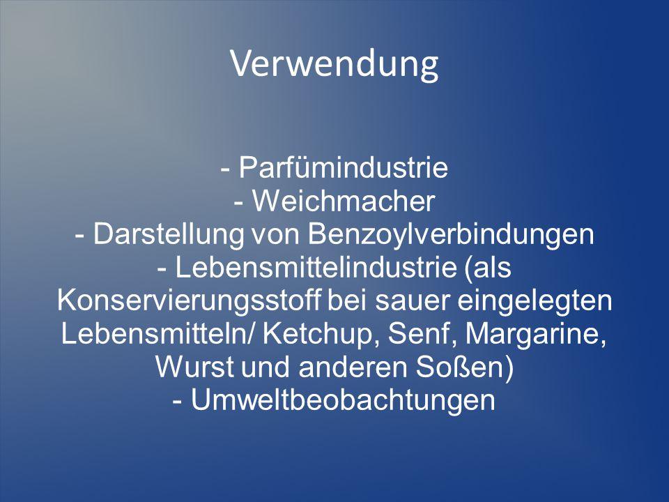 Verwendung - Parfümindustrie - Weichmacher