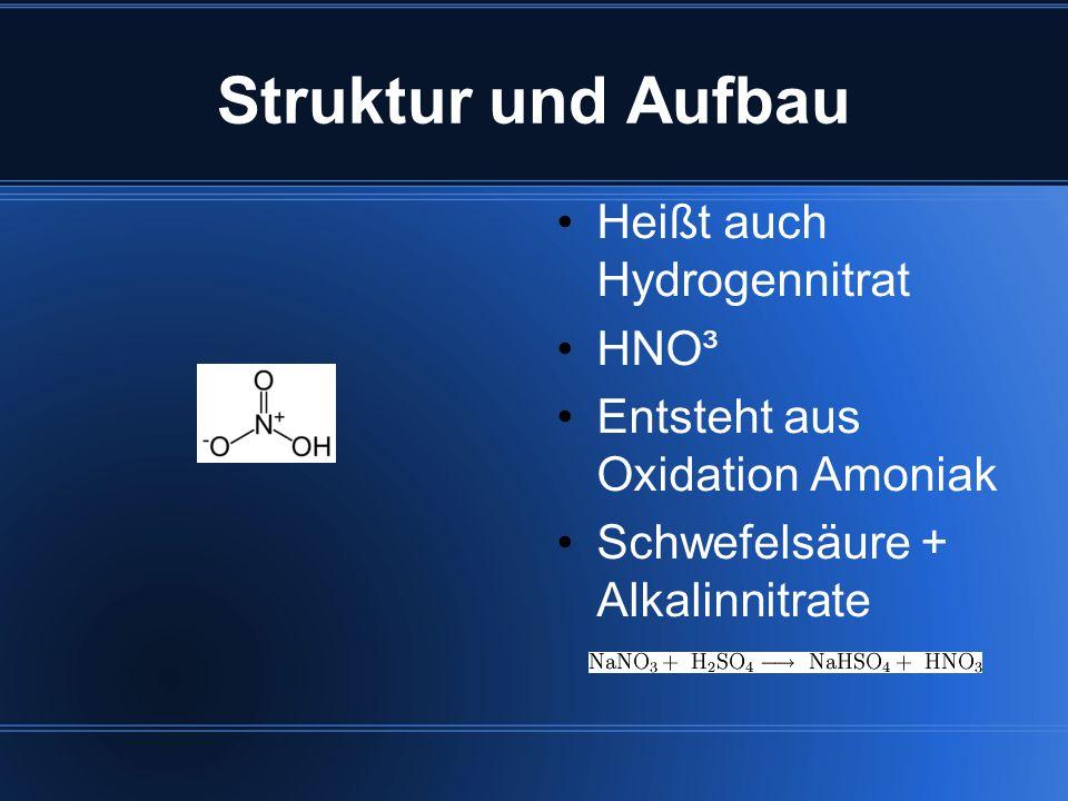 Struktur und Aufbau Heißt auch Hydrogennitrat HNO³
