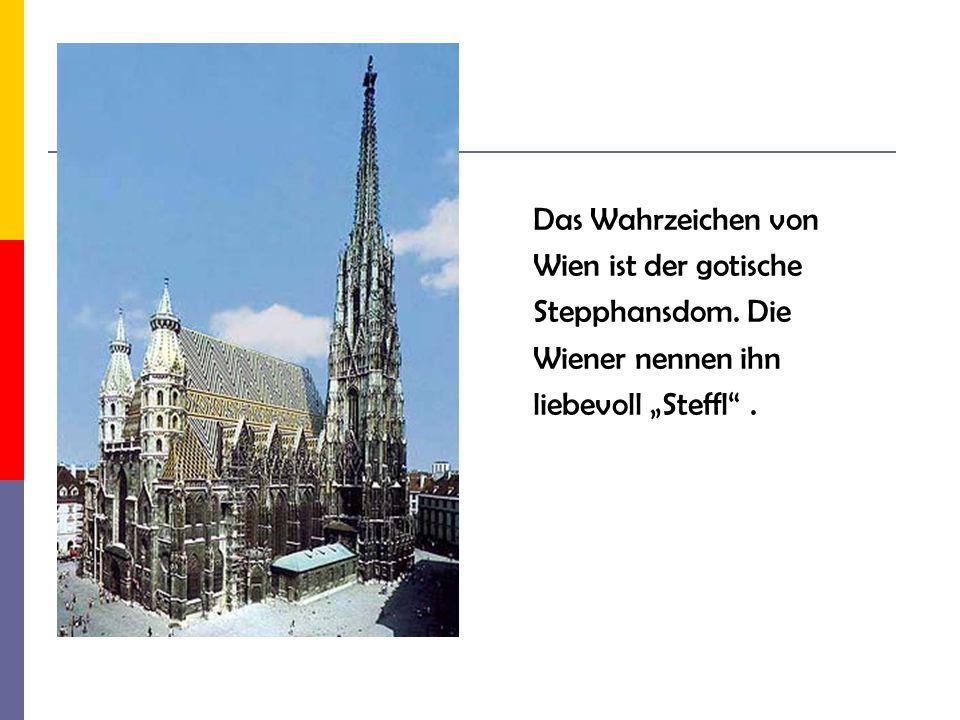 """Das Wahrzeichen von Wien ist der gotische Stepphansdom. Die Wiener nennen ihn liebevoll """"Steffl ."""