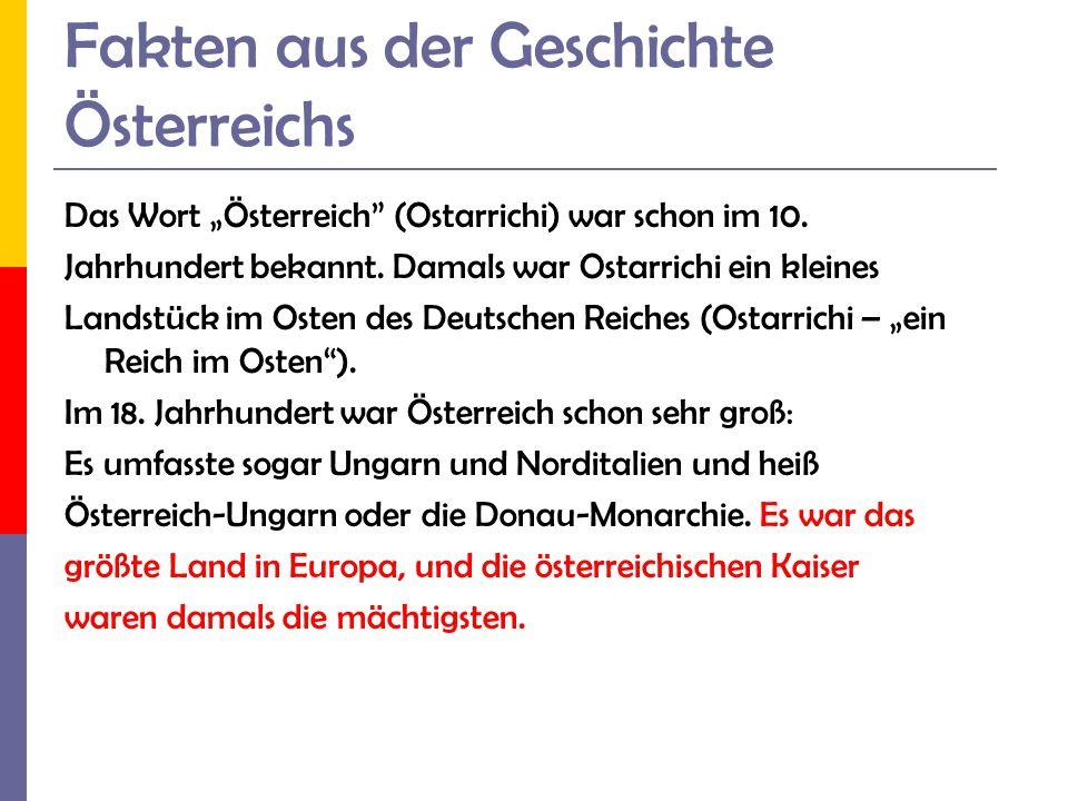 Fakten aus der Geschichte Österreichs