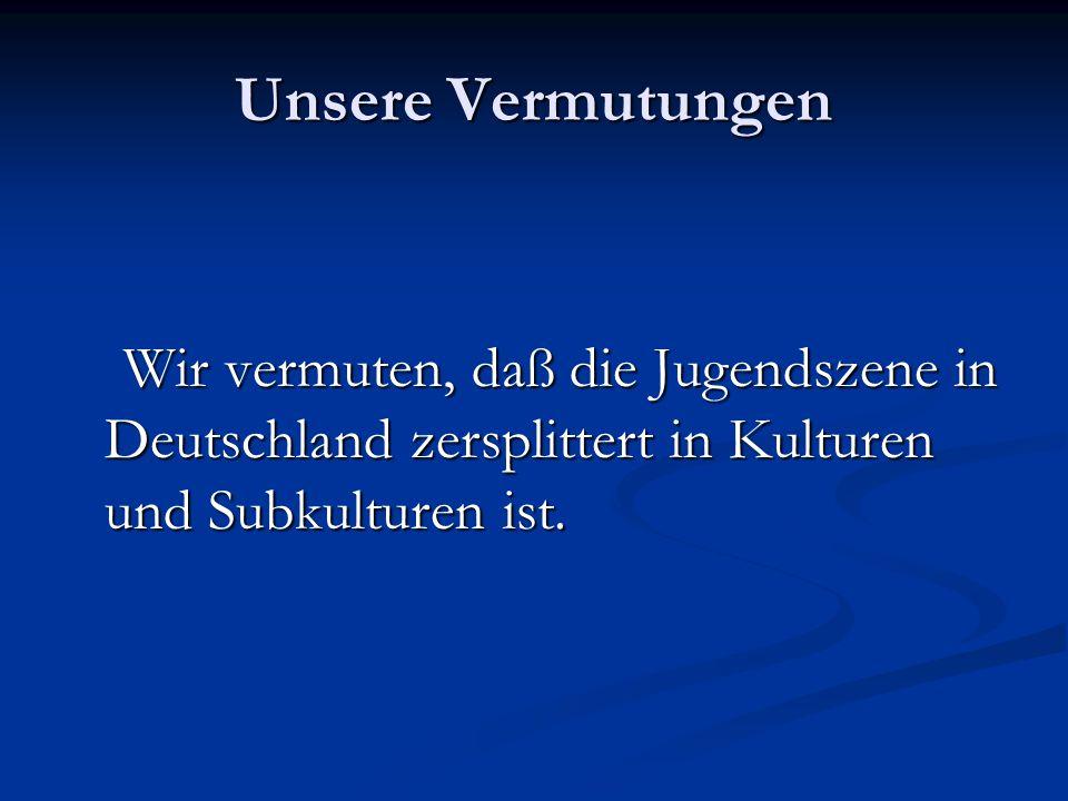 Unsere Vermutungen Wir vermuten, daß die Jugendszene in Deutschland zersplittert in Kulturen und Subkulturen ist.