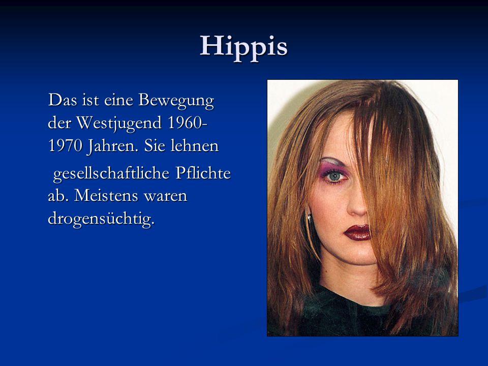 Hippis Das ist eine Bewegung der Westjugend 1960-1970 Jahren.