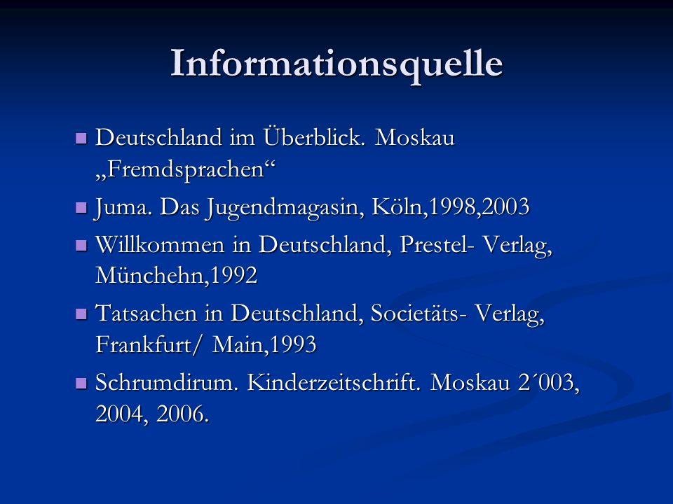"""Informationsquelle Deutschland im Überblick. Moskau """"Fremdsprachen"""