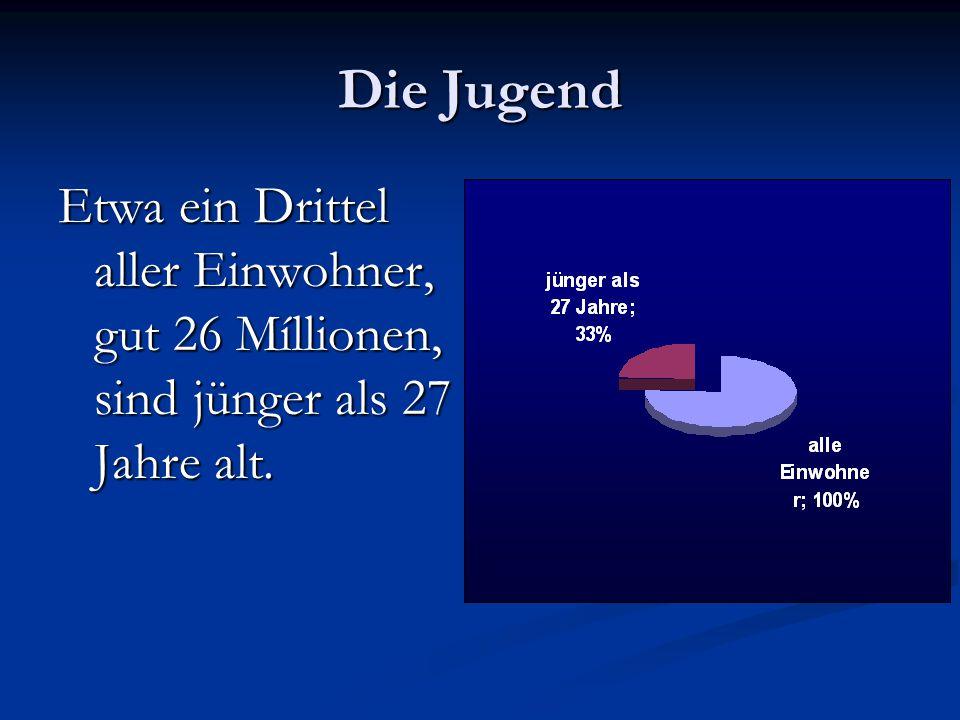 Die Jugend Etwa ein Drittel aller Einwohner, gut 26 Míllionen, sind jünger als 27 Jahre alt.