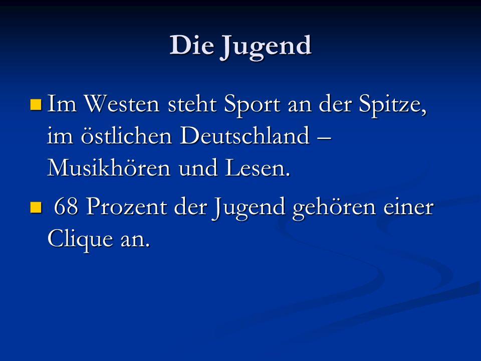 Die Jugend Im Westen steht Sport an der Spitze, im östlichen Deutschland – Musikhören und Lesen.