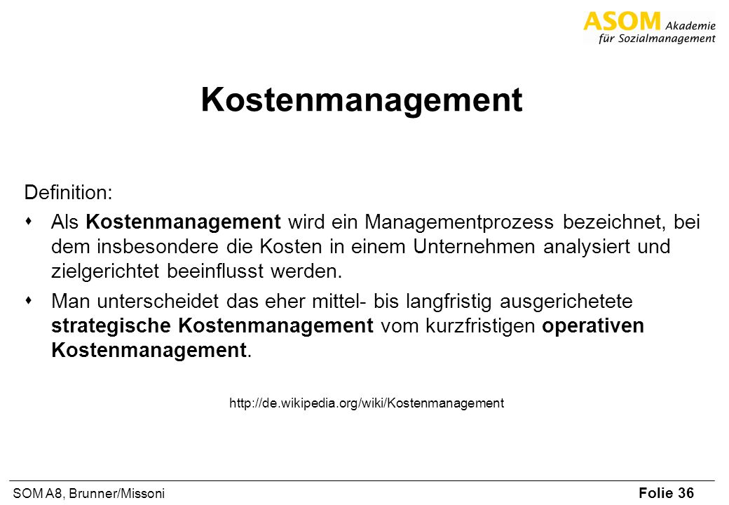 Kostenmanagement Definition: