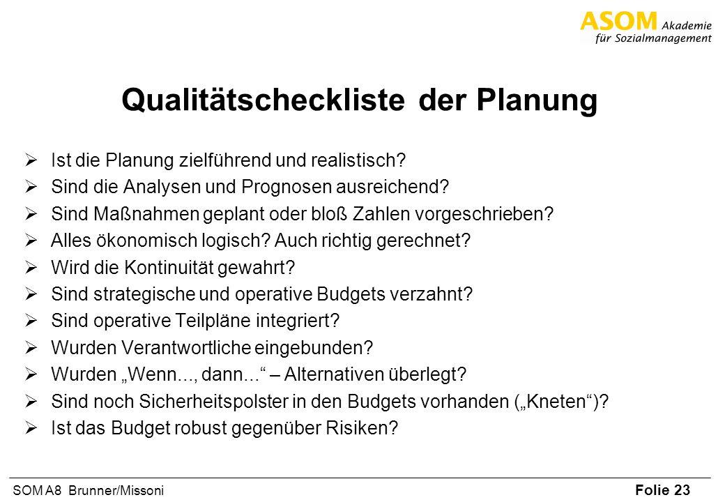 Qualitätscheckliste der Planung