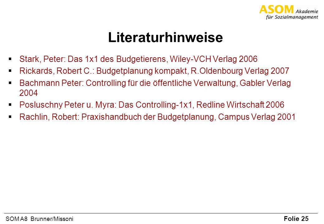 Literaturhinweise Stark, Peter: Das 1x1 des Budgetierens, Wiley-VCH Verlag 2006.