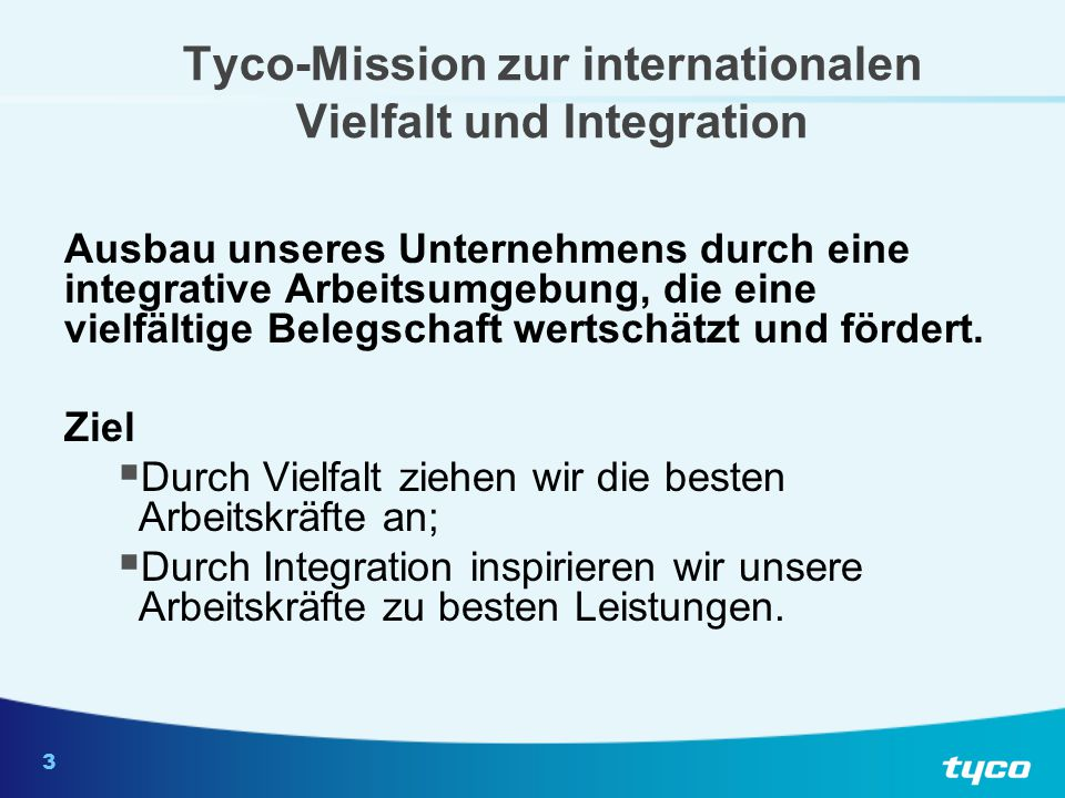 TYCO-Mission zur internationalen Vielfalt und Integration (Forts.)