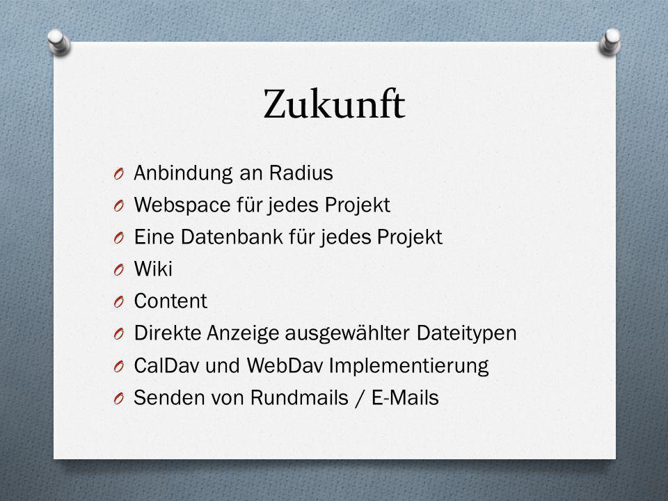 Zukunft Anbindung an Radius Webspace für jedes Projekt