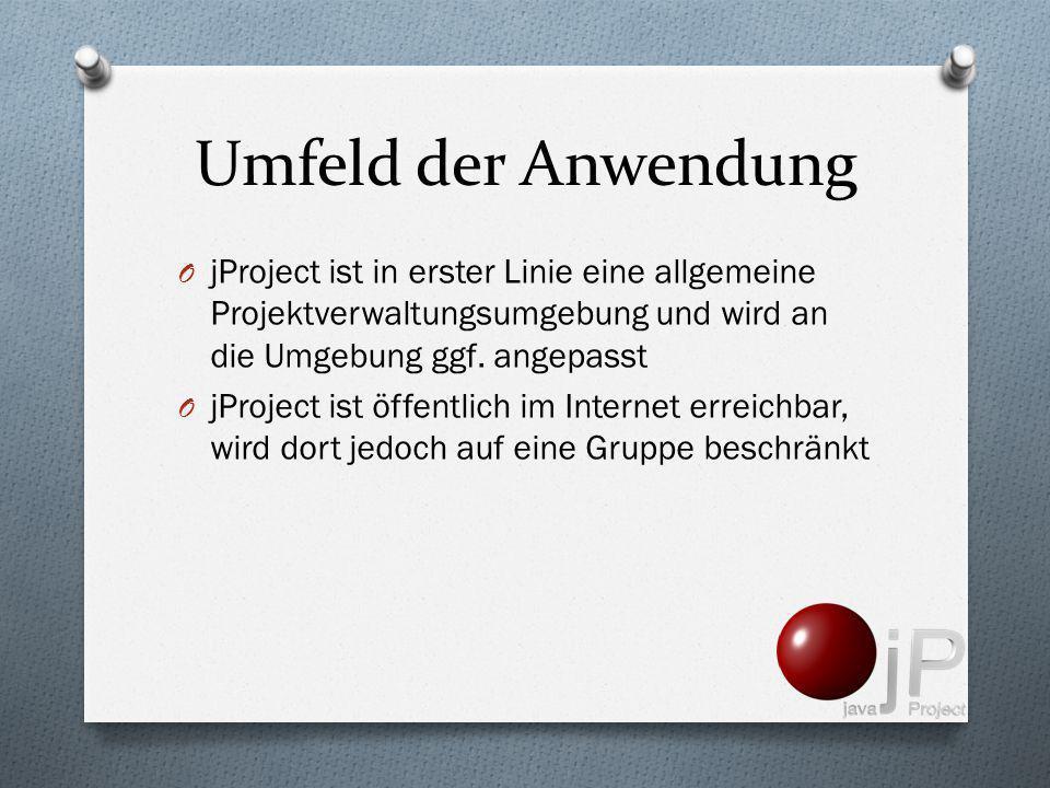 Umfeld der Anwendung jProject ist in erster Linie eine allgemeine Projektverwaltungsumgebung und wird an die Umgebung ggf. angepasst.