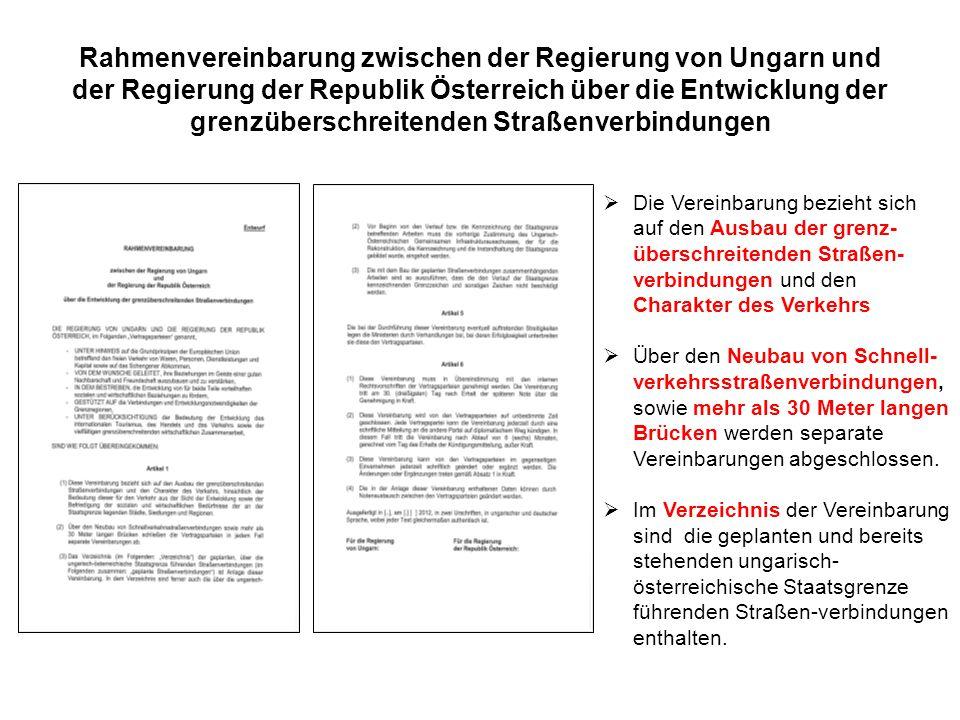 Rahmenvereinbarung zwischen der Regierung von Ungarn und der Regierung der Republik Österreich über die Entwicklung der grenzüberschreitenden Straßenverbindungen