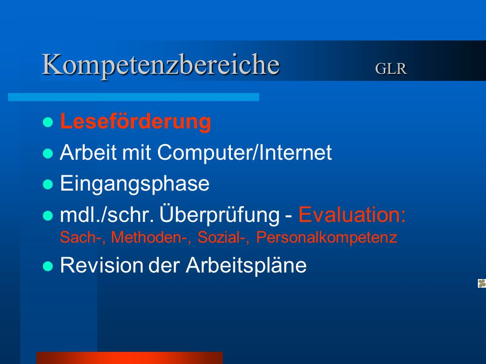 Kompetenzbereiche GLR