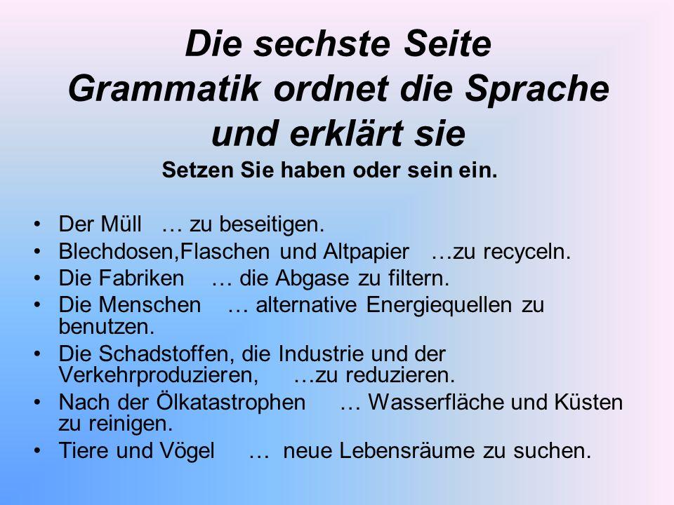 Die sechste Seite Grammatik ordnet die Sprache und erklärt sie
