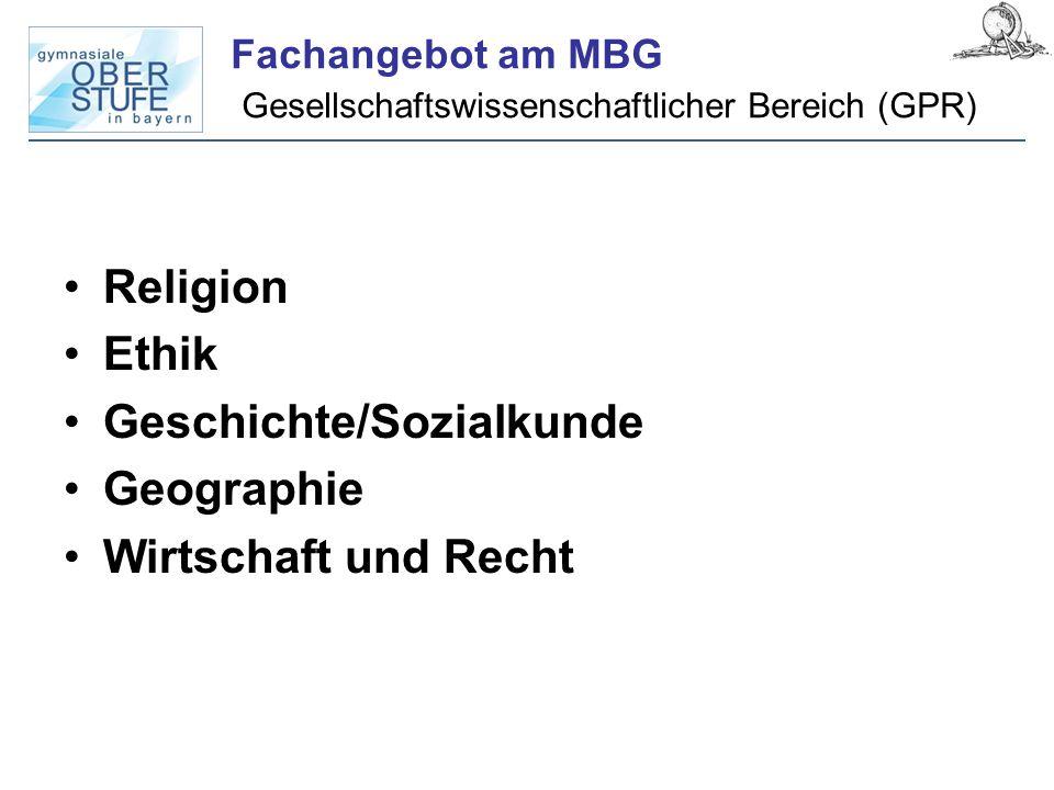 Fachangebot am MBG Gesellschaftswissenschaftlicher Bereich (GPR)