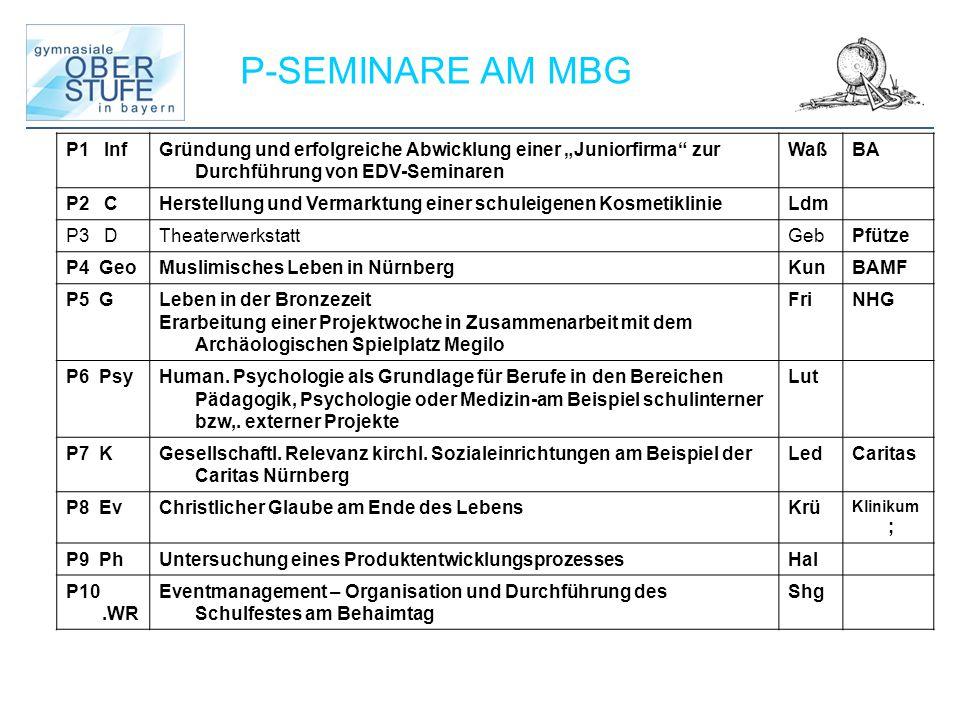 """P-SEMINARE AM MBG P1 Inf. Gründung und erfolgreiche Abwicklung einer """"Juniorfirma zur Durchführung von EDV-Seminaren."""