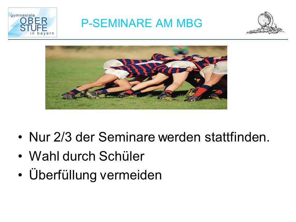 Nur 2/3 der Seminare werden stattfinden. Wahl durch Schüler