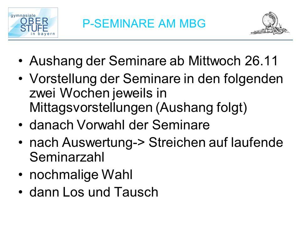 Aushang der Seminare ab Mittwoch 26.11