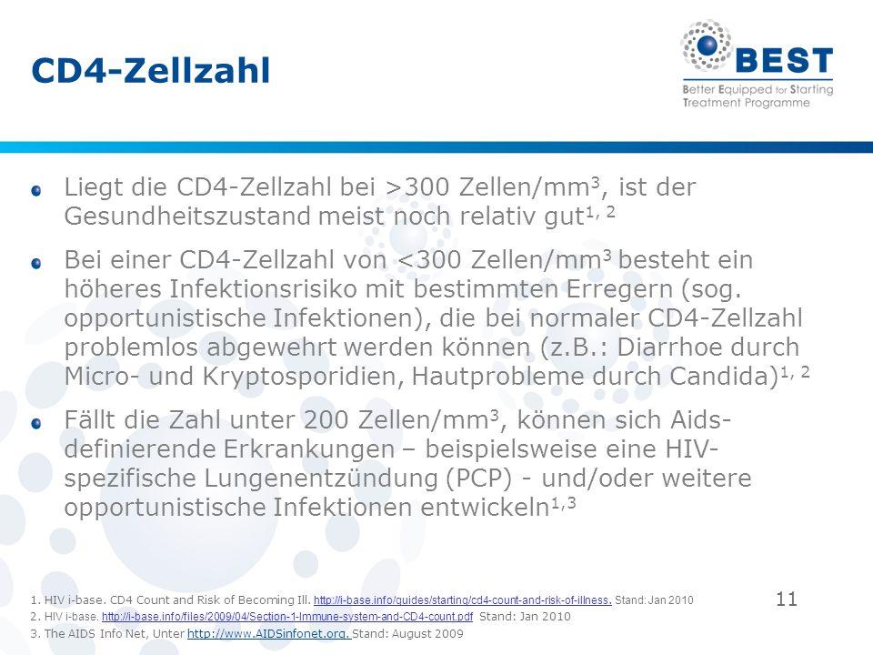 CD4-Zellzahl Liegt die CD4-Zellzahl bei >300 Zellen/mm3, ist der Gesundheitszustand meist noch relativ gut1, 2.