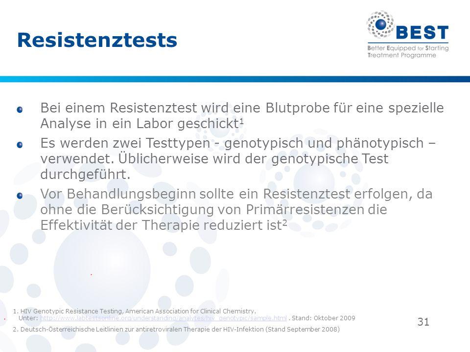Resistenztests Bei einem Resistenztest wird eine Blutprobe für eine spezielle Analyse in ein Labor geschickt1.