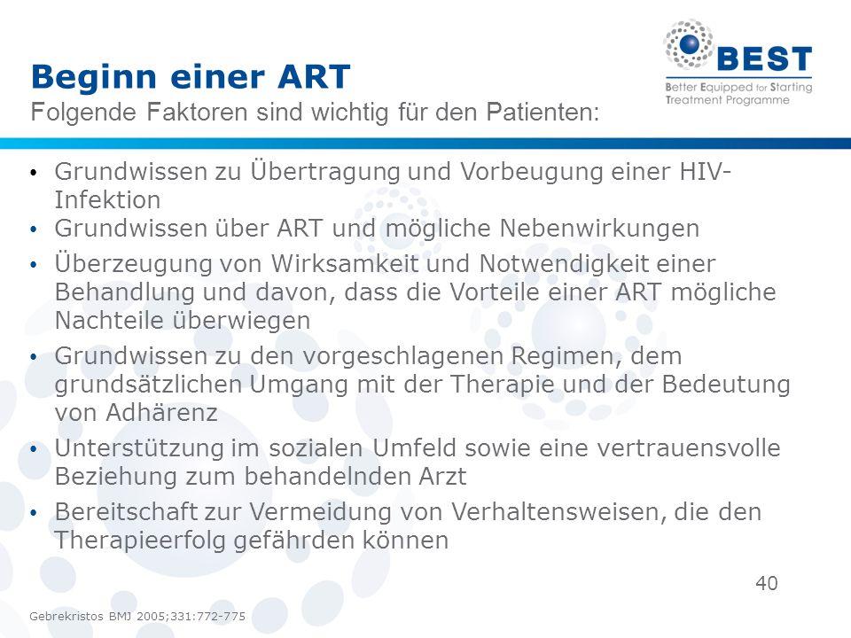 Beginn einer ART Folgende Faktoren sind wichtig für den Patienten: