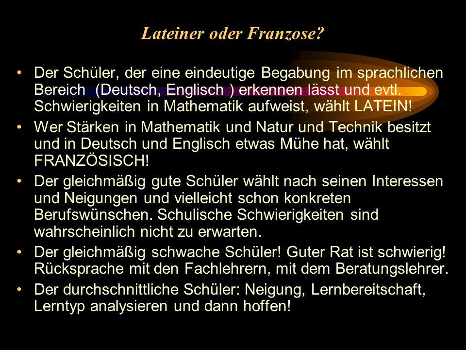 Lateiner oder Franzose