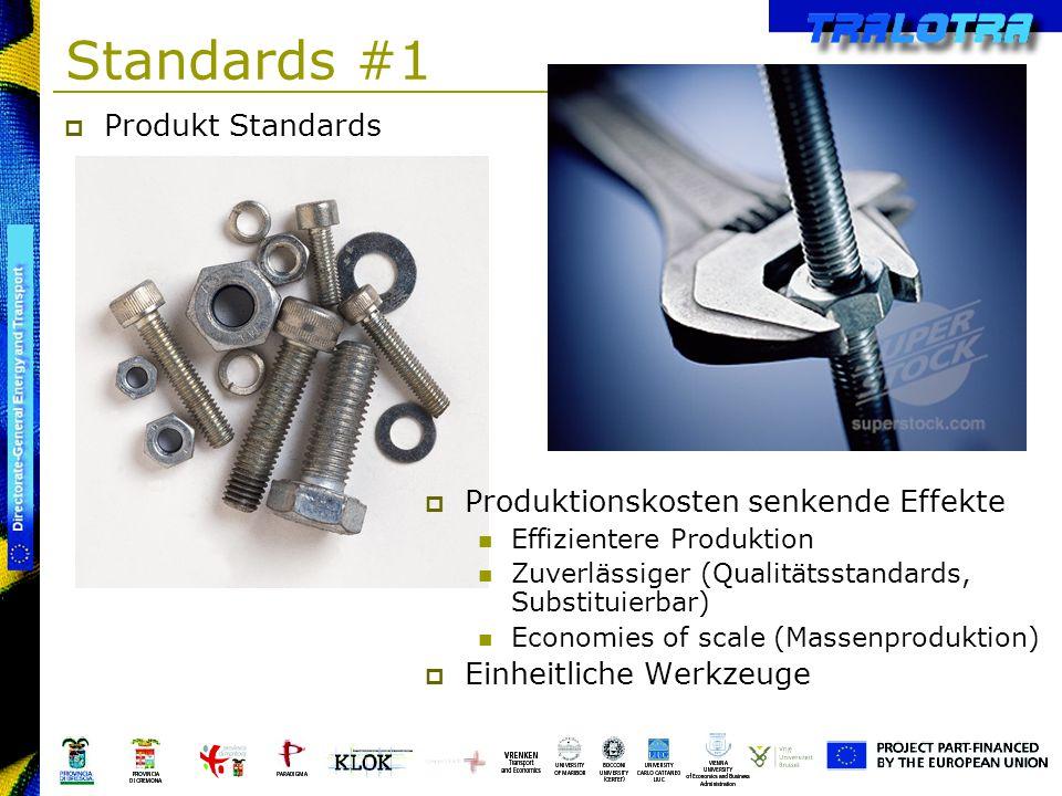 Standards #1 Produkt Standards Produktionskosten senkende Effekte