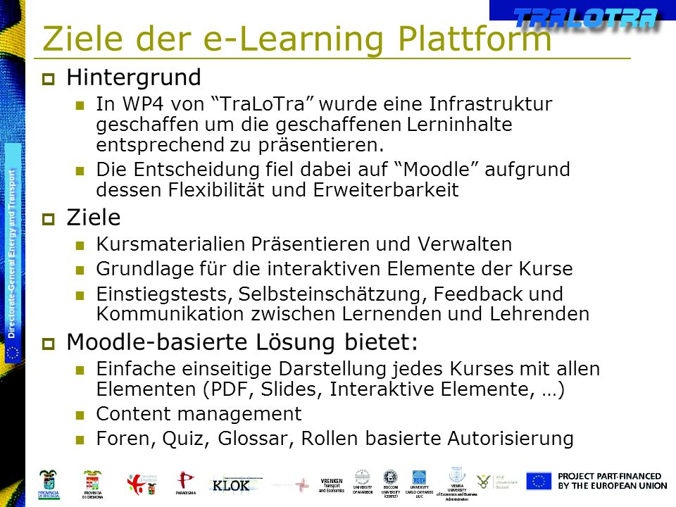 Ziele der e-Learning Plattform
