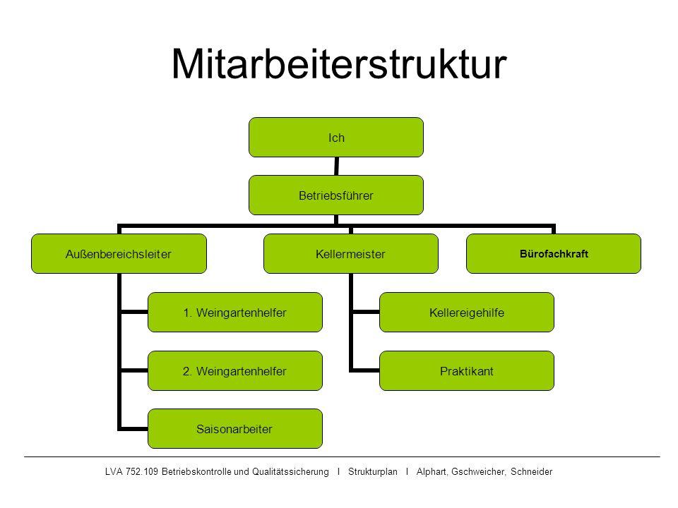 Mitarbeiterstruktur LVA 752.109 Betriebskontrolle und Qualitätssicherung I Strukturplan I Alphart, Gschweicher, Schneider.
