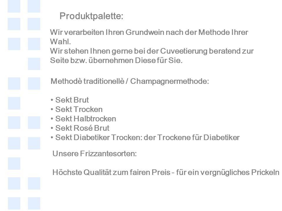 Produktpalette: Wir verarbeiten Ihren Grundwein nach der Methode Ihrer Wahl.