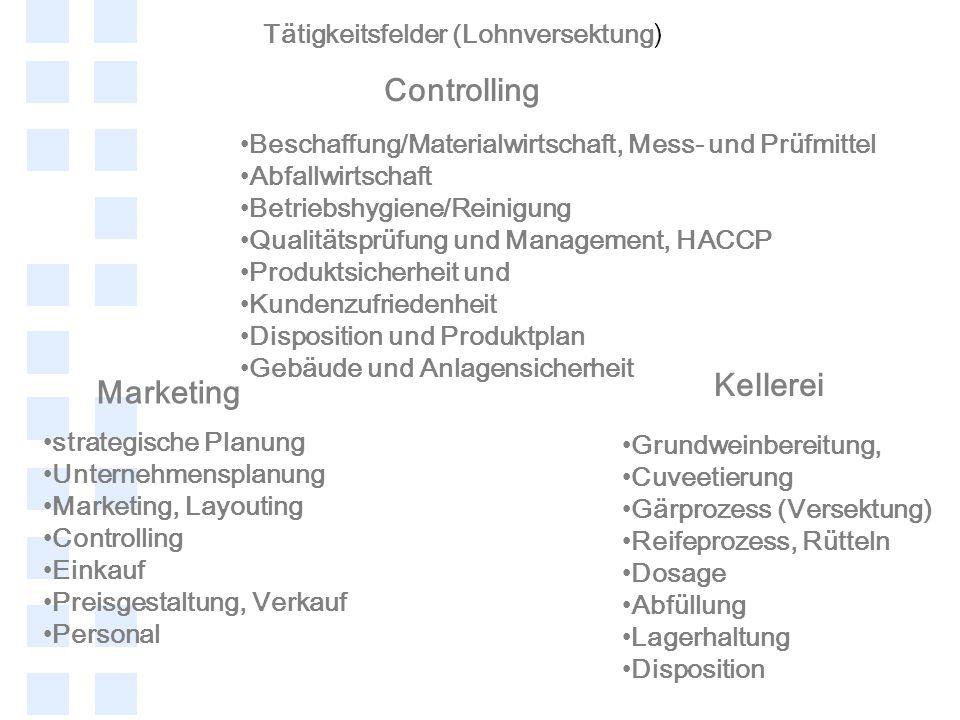 Controlling Kellerei Marketing Tätigkeitsfelder (Lohnversektung)