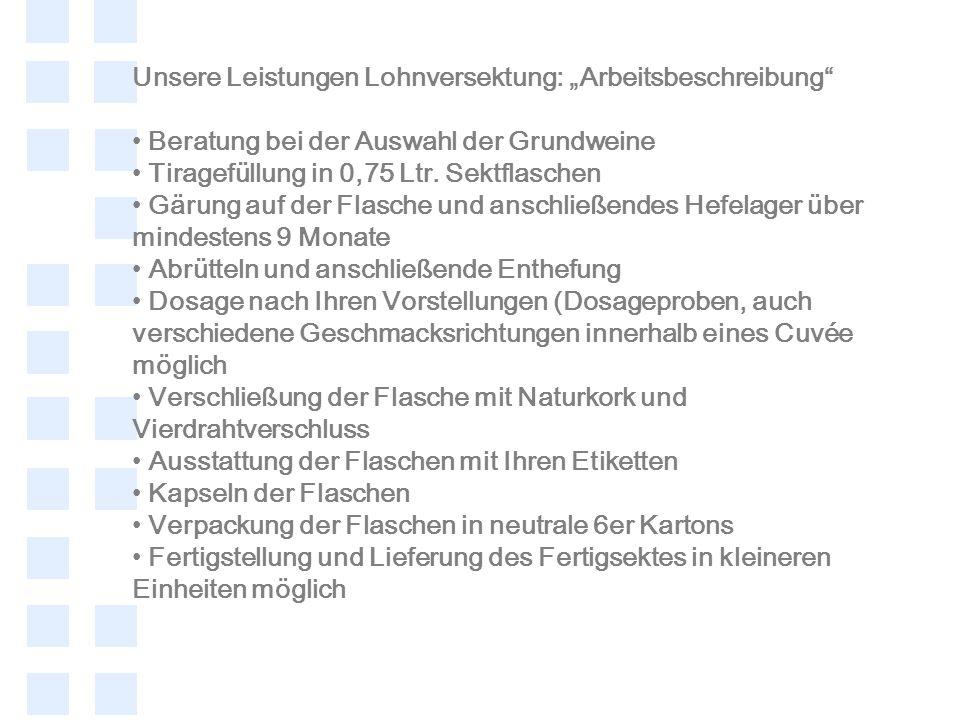 """Unsere Leistungen Lohnversektung: """"Arbeitsbeschreibung"""
