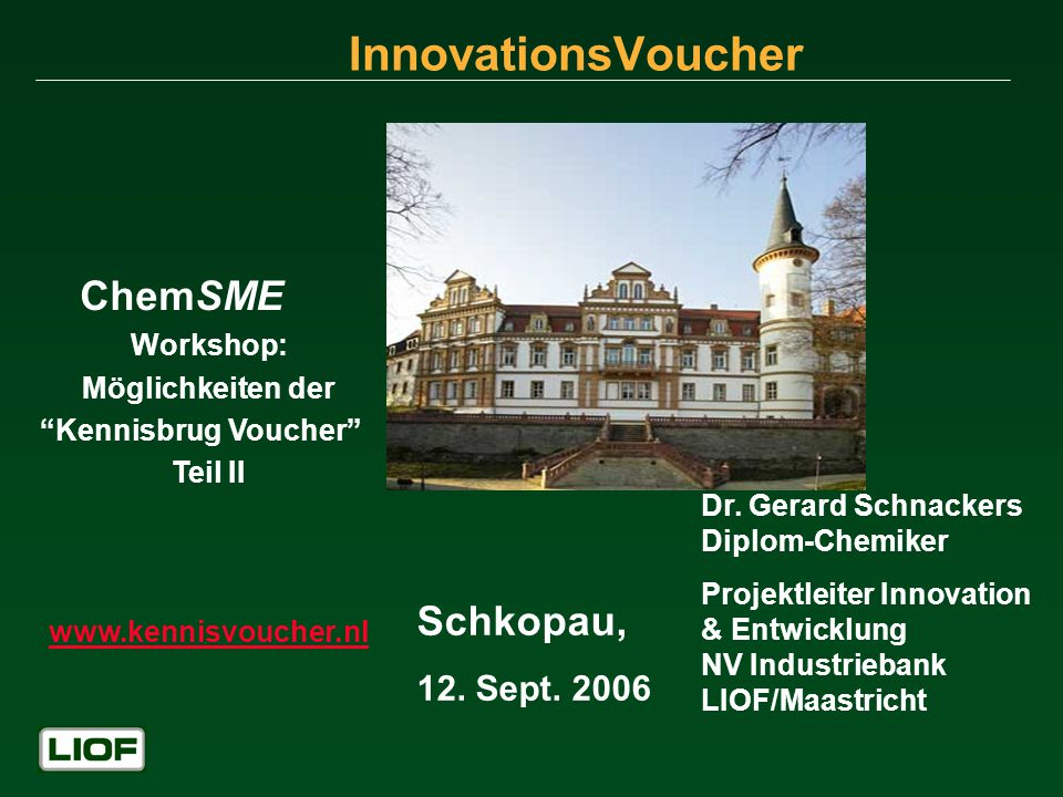 InnovationsVoucher Schkopau, 12. Sept Workshop: