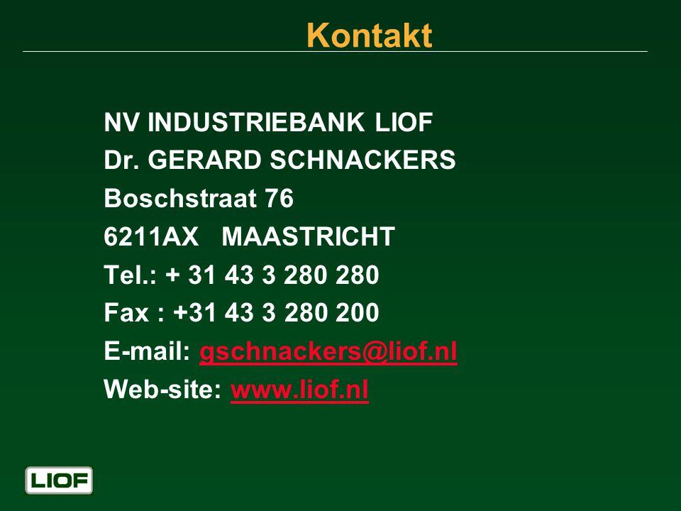 Kontakt NV INDUSTRIEBANK LIOF Dr. GERARD SCHNACKERS Boschstraat 76