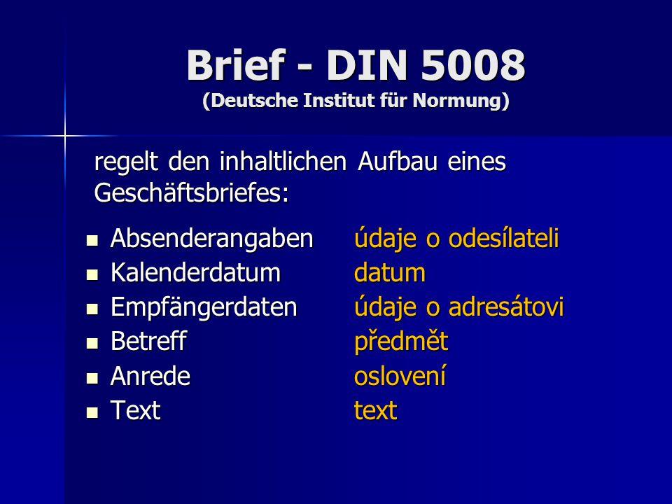 Brief - DIN 5008 (Deutsche Institut für Normung)
