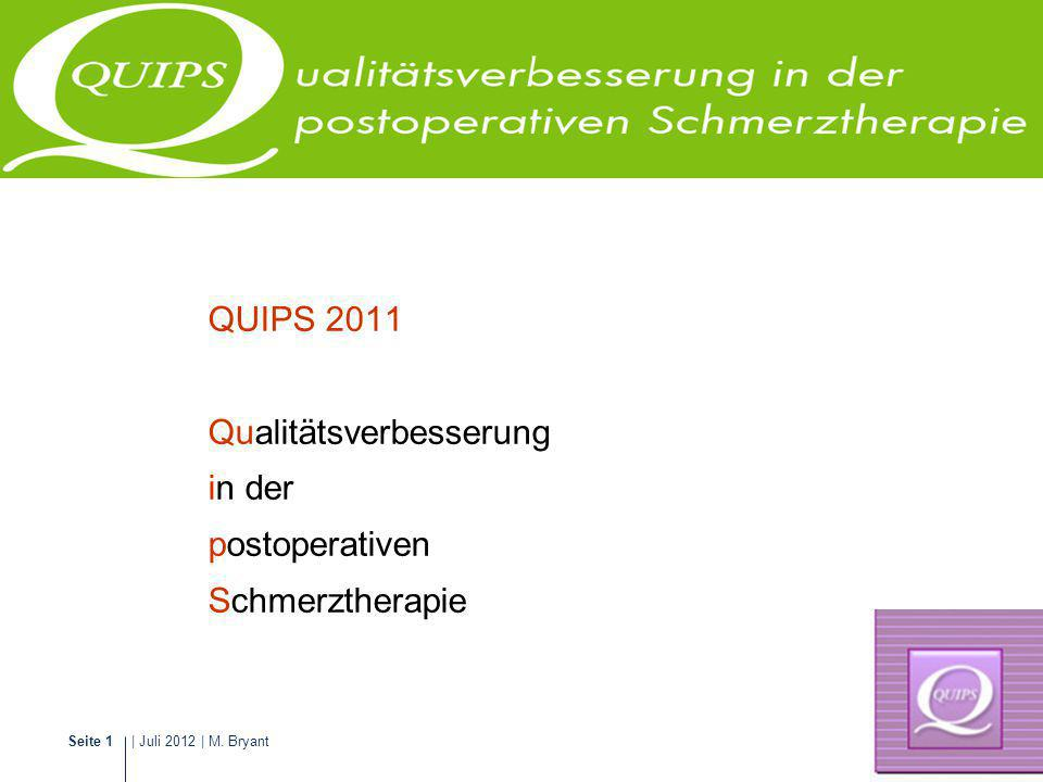 QUIPS 2011 Qualitätsverbesserung in der postoperativen Schmerztherapie