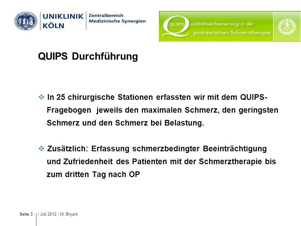 QUIPS Durchführung In 25 chirurgische Stationen erfassten wir mit dem QUIPS- Fragebogen jeweils den maximalen Schmerz, den geringsten.