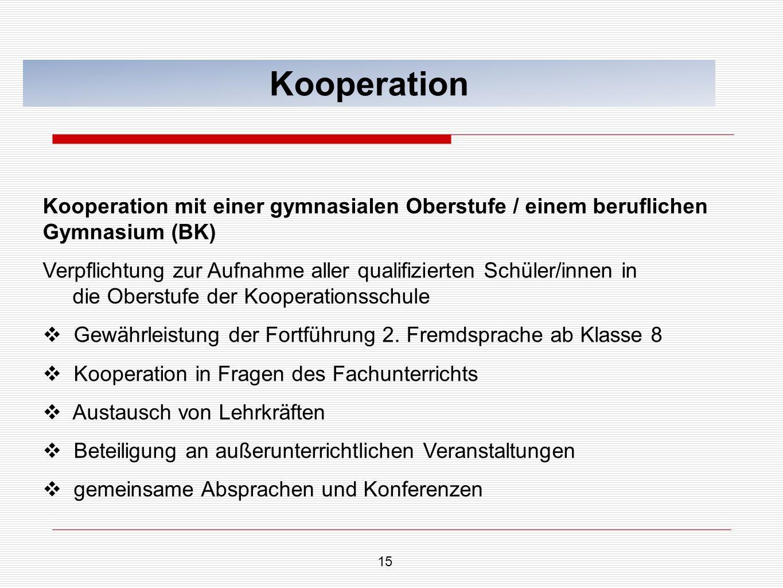 Kooperation Kooperation mit einer gymnasialen Oberstufe / einem beruflichen Gymnasium (BK)