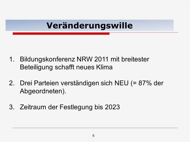 Veränderungswille Bildungskonferenz NRW 2011 mit breitester Beteiligung schafft neues Klima.
