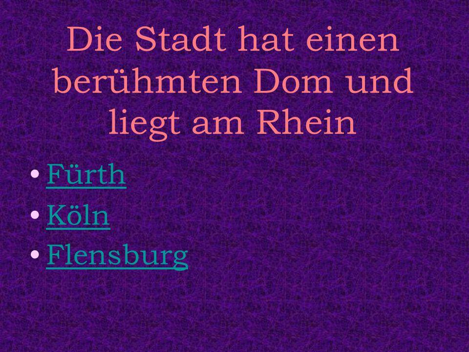 Die Stadt hat einen berühmten Dom und liegt am Rhein