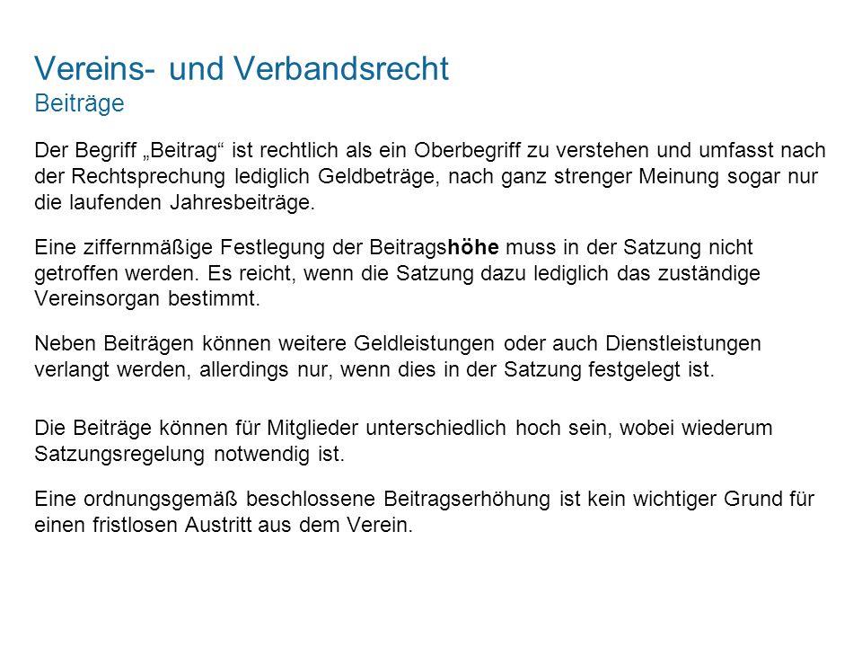 Vereins- und Verbandsrecht Beiträge