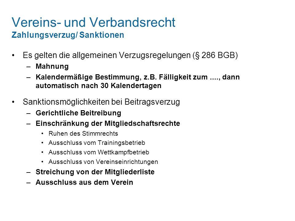 Vereins- und Verbandsrecht Zahlungsverzug/ Sanktionen