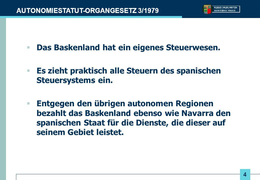 Das Baskenland hat ein eigenes Steuerwesen.
