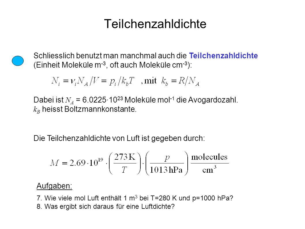 Teilchenzahldichte Schliesslich benutzt man manchmal auch die Teilchenzahldichte (Einheit Moleküle m-3, oft auch Moleküle cm-3):