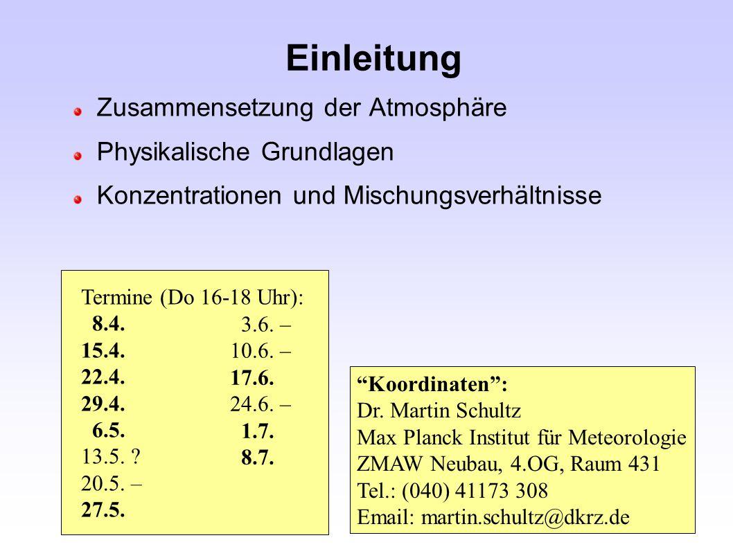 Einleitung Zusammensetzung der Atmosphäre Physikalische Grundlagen